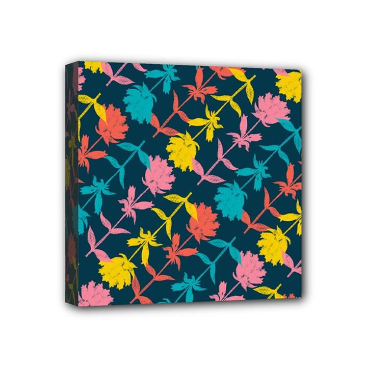 Colorful Floral Pattern Mini Canvas 4  x 4