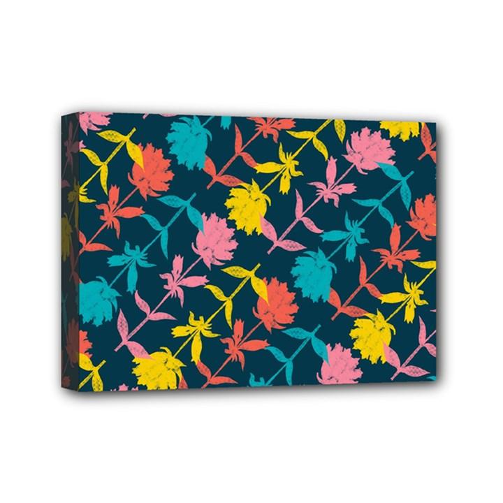 Colorful Floral Pattern Mini Canvas 7  x 5