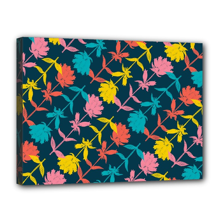 Colorful Floral Pattern Canvas 16  x 12