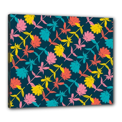 Colorful Floral Pattern Canvas 24  x 20