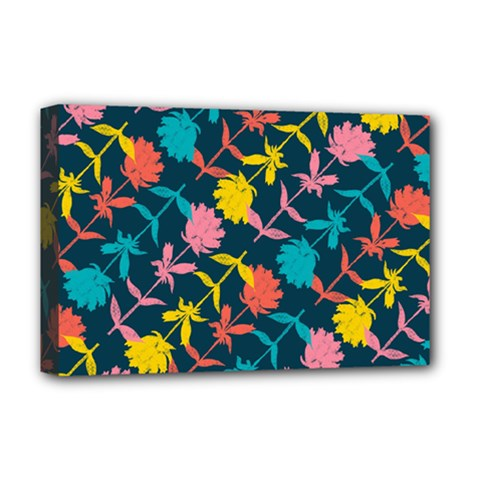 Colorful Floral Pattern Deluxe Canvas 18  X 12   by DanaeStudio