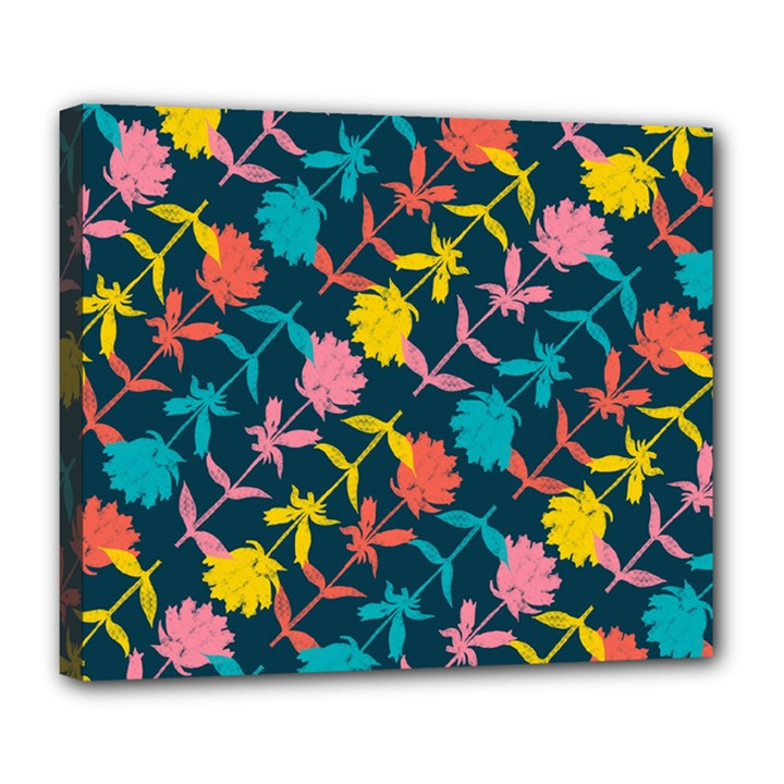 Colorful Floral Pattern Deluxe Canvas 24  x 20