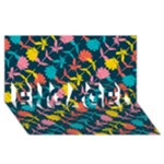 Colorful Floral Pattern ENGAGED 3D Greeting Card (8x4)