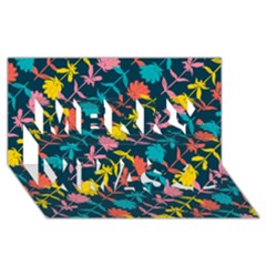 Colorful Floral Pattern Merry Xmas 3d Greeting Card (8x4)