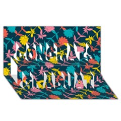 Colorful Floral Pattern Congrats Graduate 3d Greeting Card (8x4) by DanaeStudio