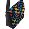 Colorful Floral Pattern Flap Messenger Bag (L)  View2
