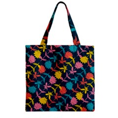 Colorful Floral Pattern Zipper Grocery Tote Bag by DanaeStudio