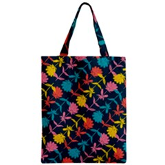 Colorful Floral Pattern Zipper Classic Tote Bag by DanaeStudio