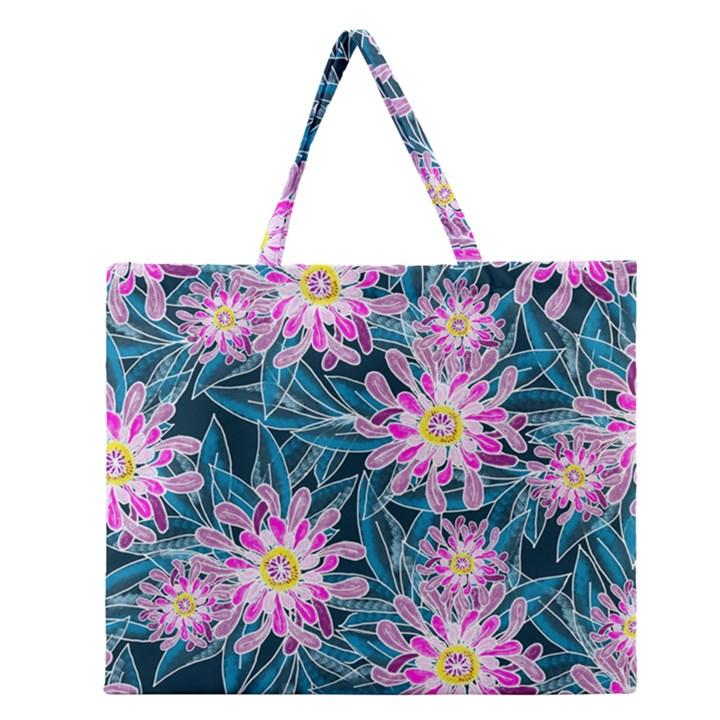 Whimsical Garden Zipper Large Tote Bag