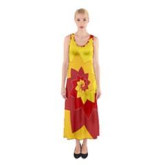 Flower Blossom Spiral Design  Red Yellow Sleeveless Maxi Dress by designworld65