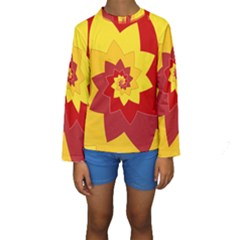 Flower Blossom Spiral Design  Red Yellow Kids  Long Sleeve Swimwear