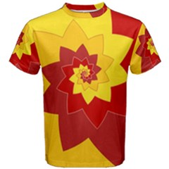 Flower Blossom Spiral Design  Red Yellow Men s Cotton Tee