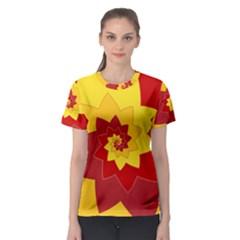 Flower Blossom Spiral Design  Red Yellow Women s Sport Mesh Tee