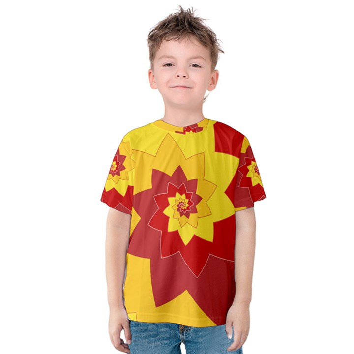 Flower Blossom Spiral Design  Red Yellow Kids  Cotton Tee