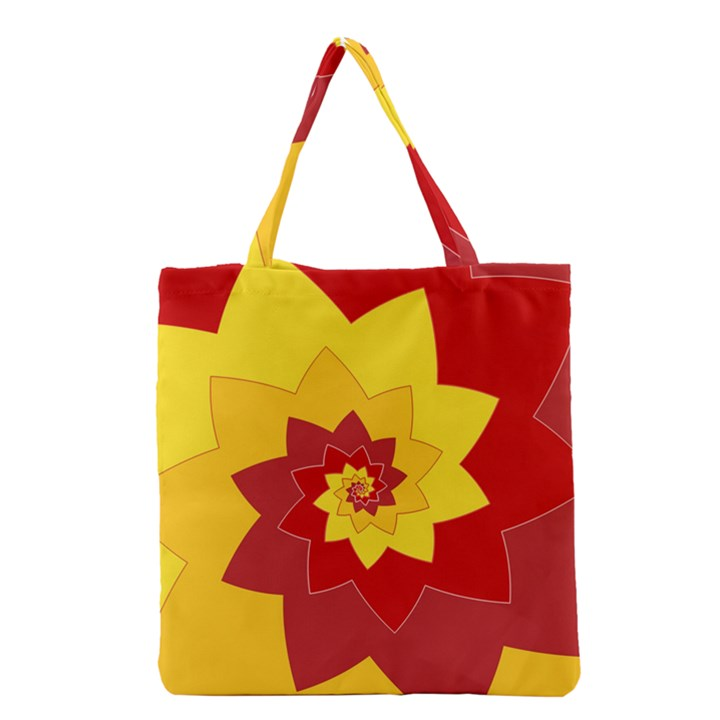 Flower Blossom Spiral Design  Red Yellow Grocery Tote Bag