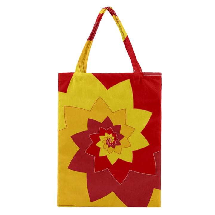 Flower Blossom Spiral Design  Red Yellow Classic Tote Bag