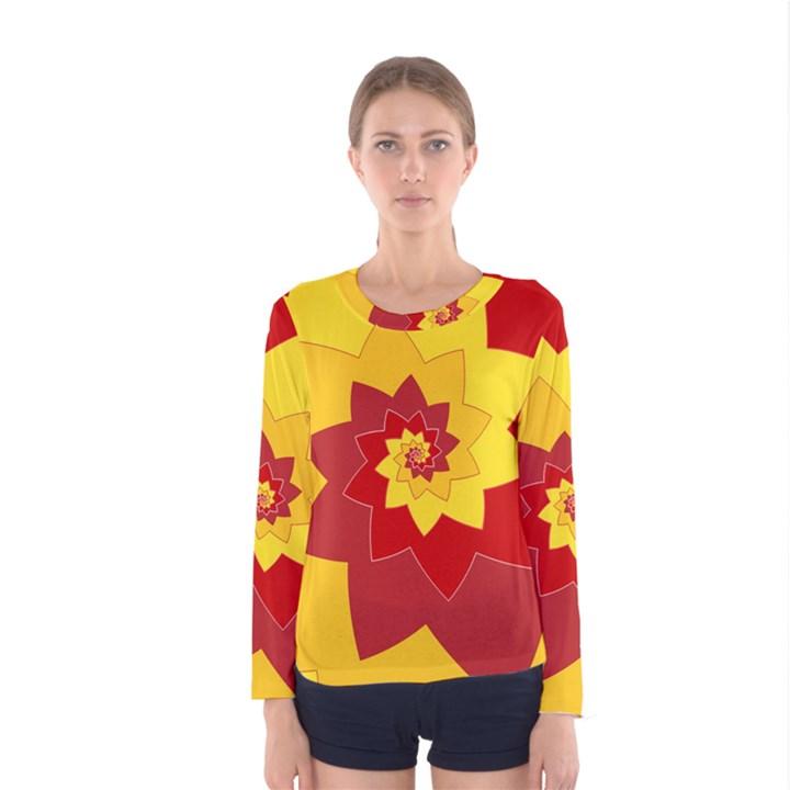 Flower Blossom Spiral Design  Red Yellow Women s Long Sleeve Tee