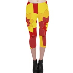 Flower Blossom Spiral Design  Red Yellow Capri Leggings  by designworld65