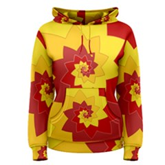 Flower Blossom Spiral Design  Red Yellow Women s Pullover Hoodie