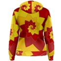 Flower Blossom Spiral Design  Red Yellow Women s Pullover Hoodie View2