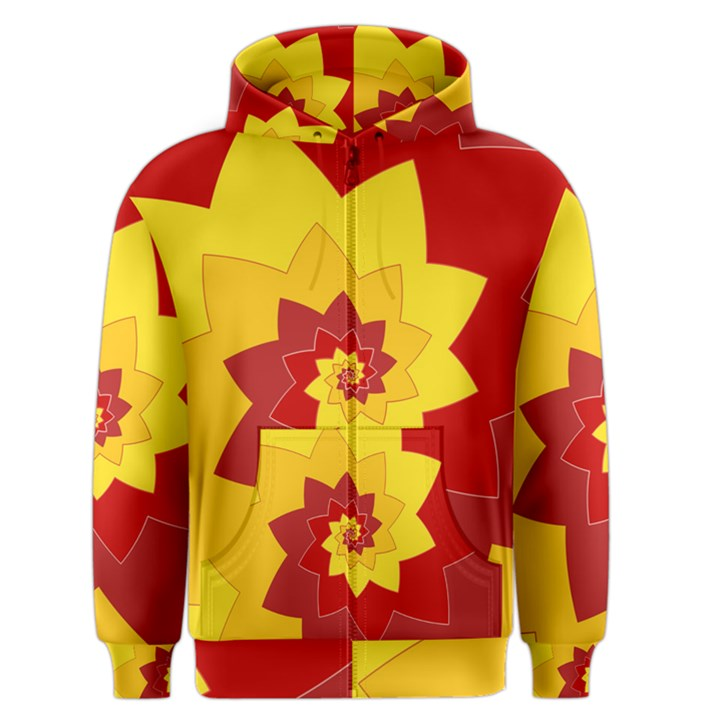 Flower Blossom Spiral Design  Red Yellow Men s Zipper Hoodie