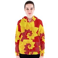 Flower Blossom Spiral Design  Red Yellow Women s Zipper Hoodie