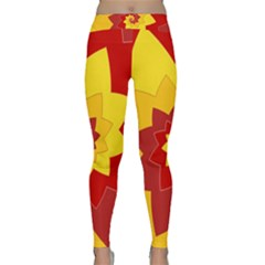 Flower Blossom Spiral Design  Red Yellow Yoga Leggings