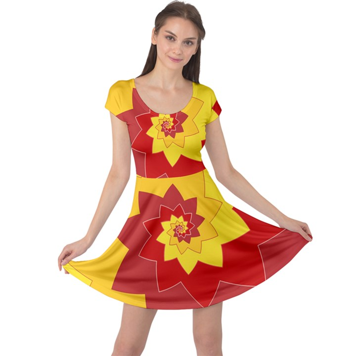 Flower Blossom Spiral Design  Red Yellow Cap Sleeve Dresses