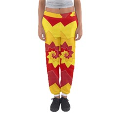 Flower Blossom Spiral Design  Red Yellow Women s Jogger Sweatpants