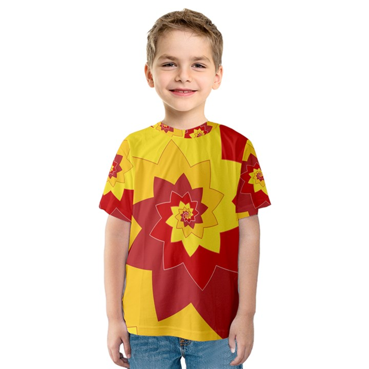 Flower Blossom Spiral Design  Red Yellow Kids  Sport Mesh Tee