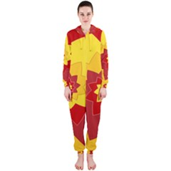 Flower Blossom Spiral Design  Red Yellow Hooded Jumpsuit (ladies)
