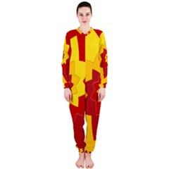 Flower Blossom Spiral Design  Red Yellow Onepiece Jumpsuit (ladies)