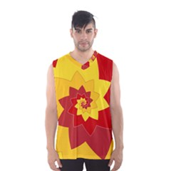 Flower Blossom Spiral Design  Red Yellow Men s Basketball Tank Top by designworld65