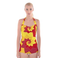 Flower Blossom Spiral Design  Red Yellow Boyleg Halter Swimsuit  by designworld65
