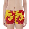 Flower Blossom Spiral Design  Red Yellow Boyleg Bikini Wrap Bottoms View1