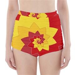 Flower Blossom Spiral Design  Red Yellow High Waisted Bikini Bottoms by designworld65