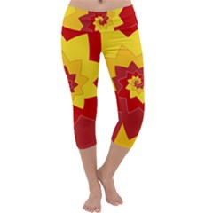 Flower Blossom Spiral Design  Red Yellow Capri Yoga Leggings