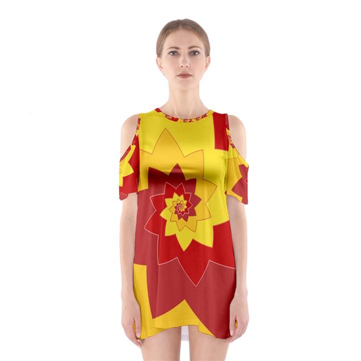 Flower Blossom Spiral Design  Red Yellow Cutout Shoulder Dress