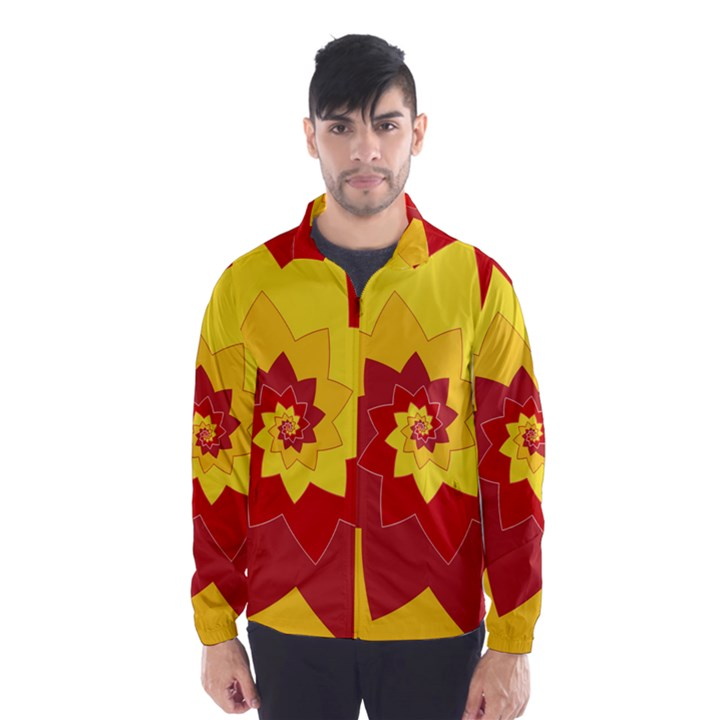 Flower Blossom Spiral Design  Red Yellow Wind Breaker (Men)