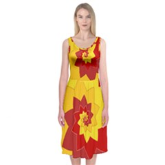 Flower Blossom Spiral Design  Red Yellow Midi Sleeveless Dress by designworld65