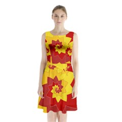 Flower Blossom Spiral Design  Red Yellow Sleeveless Chiffon Waist Tie Dress