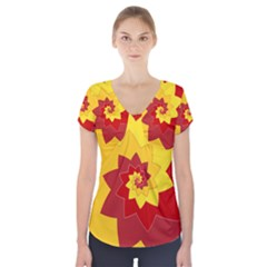 Flower Blossom Spiral Design  Red Yellow Short Sleeve Front Detail Top
