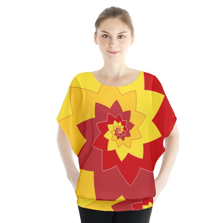 Flower Blossom Spiral Design  Red Yellow Blouse