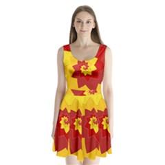 Flower Blossom Spiral Design  Red Yellow Split Back Mini Dress