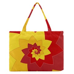 Flower Blossom Spiral Design  Red Yellow Medium Zipper Tote Bag by designworld65