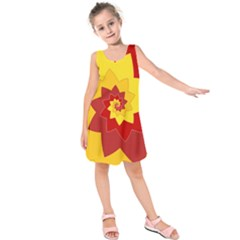 Flower Blossom Spiral Design  Red Yellow Kids  Sleeveless Dress by designworld65