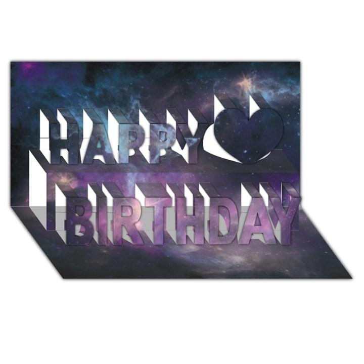 Blue Galaxy  Happy Birthday 3D Greeting Card (8x4)