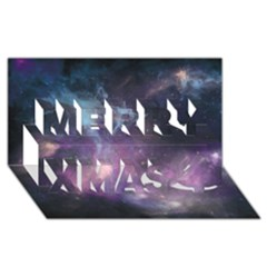 Blue Galaxy  Merry Xmas 3d Greeting Card (8x4) by DanaeStudio