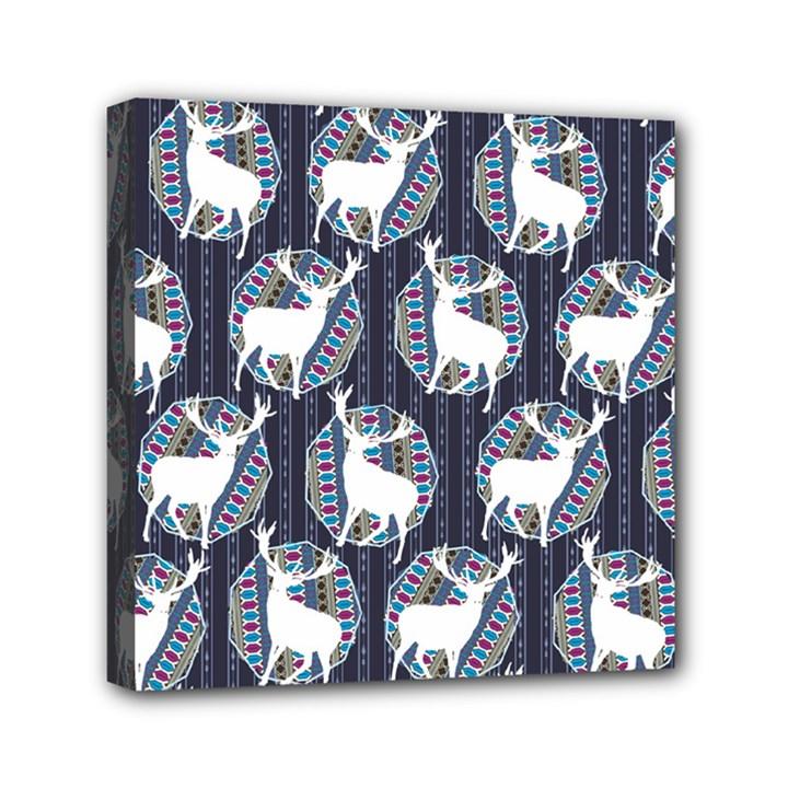 Geometric Deer Retro Pattern Mini Canvas 6  x 6