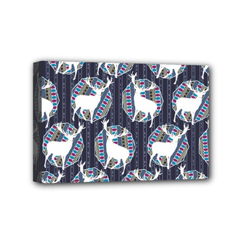Geometric Deer Retro Pattern Mini Canvas 6  x 4